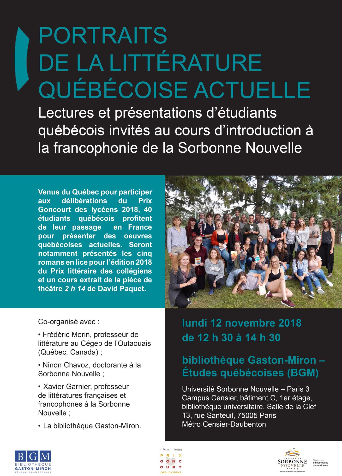 2018-11-12 Portraits de la littérature québécoise