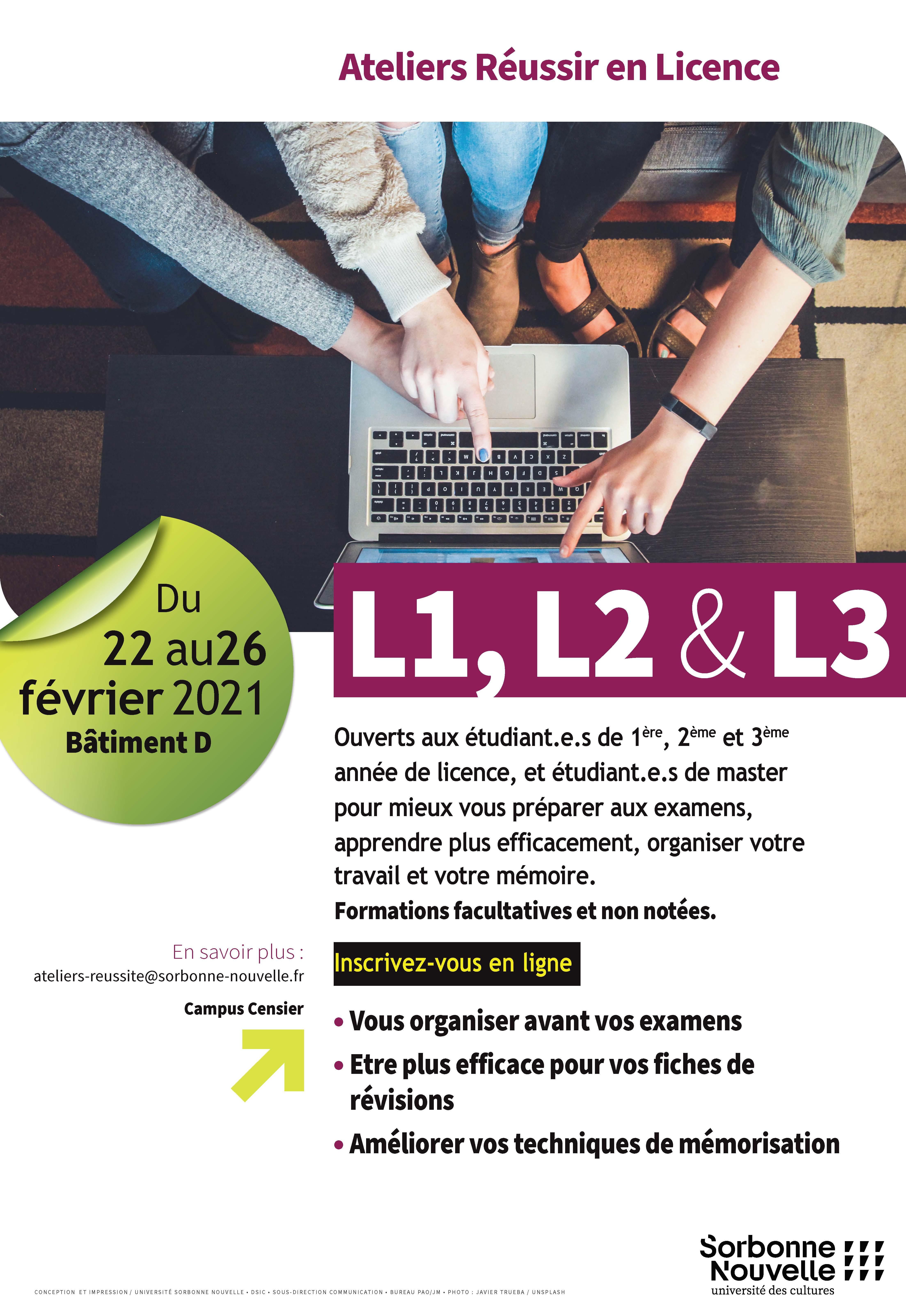 Affiche du service Réussite étudiante - Ateliers Réussir en Licence Février 2021