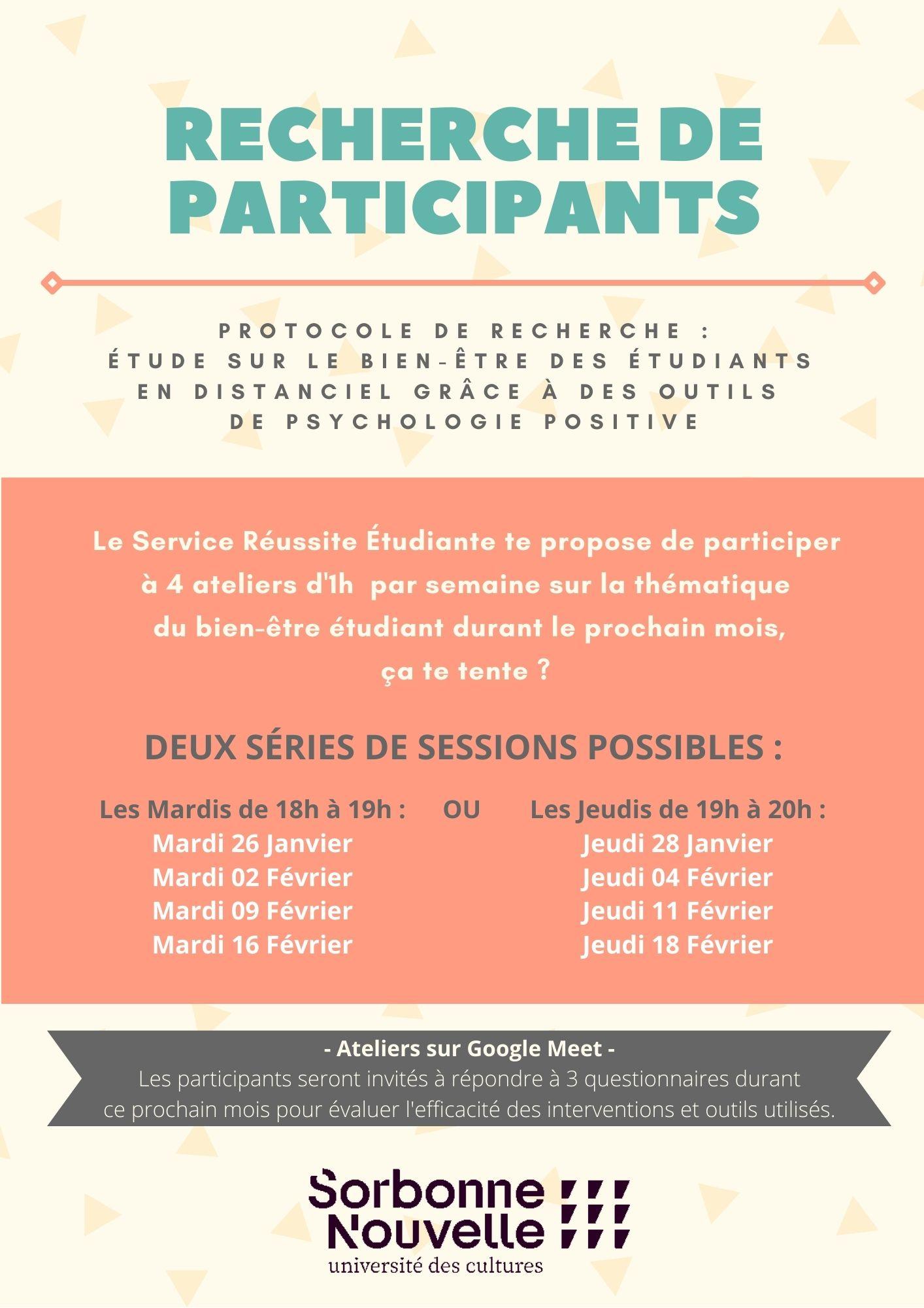 Affiche de recrutement pour les ateliers sur l'épanouissement étudiant en janvier et février 2021