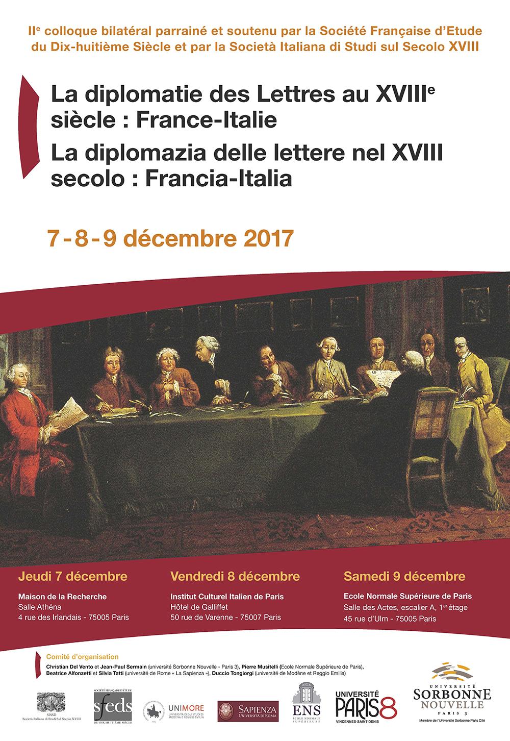 affiche La diplomatie des lettres au XVIII France Italie.jpg