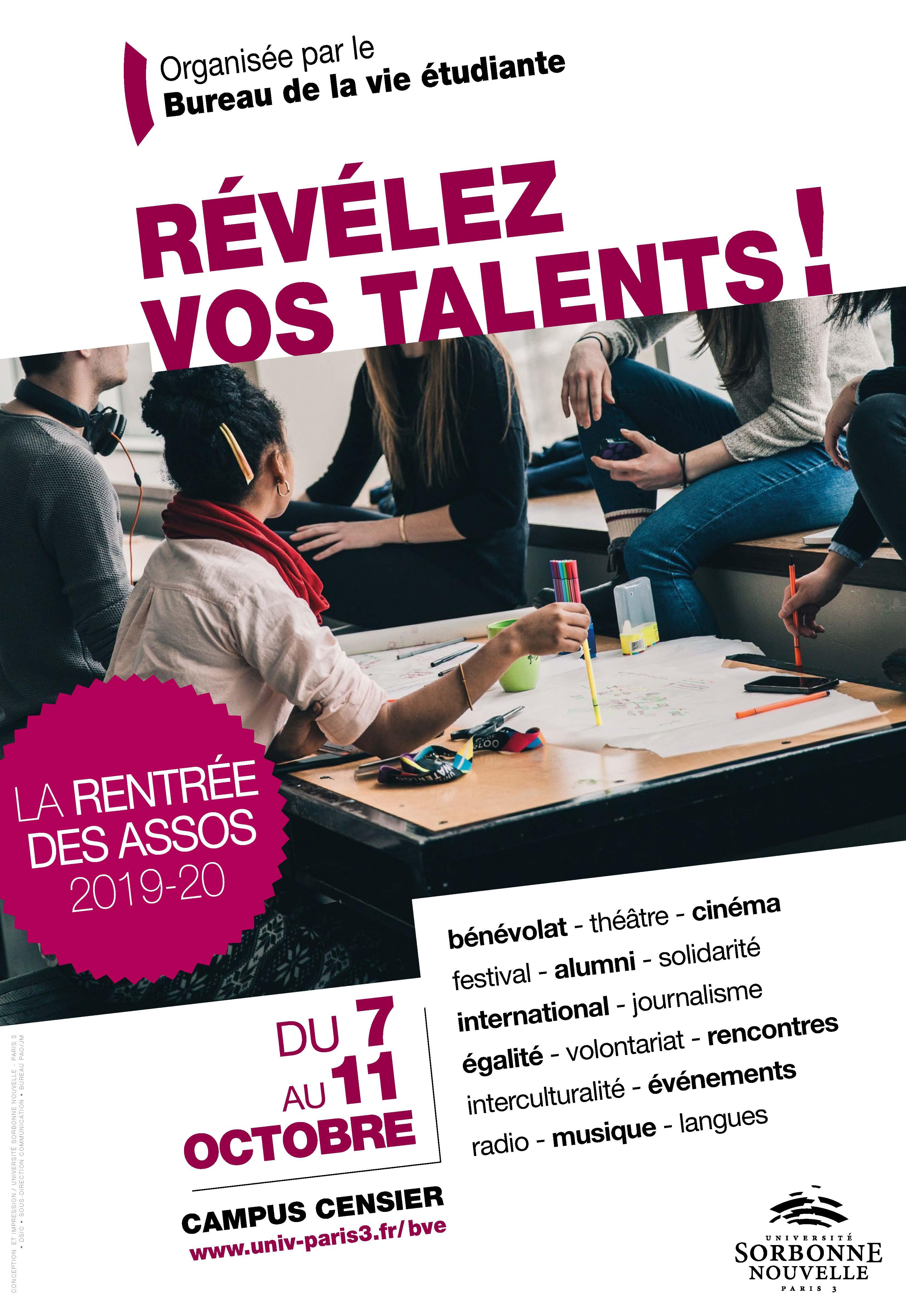 Affiche - La rentrée des assos 2019-20 - révélez vos talents.jpg