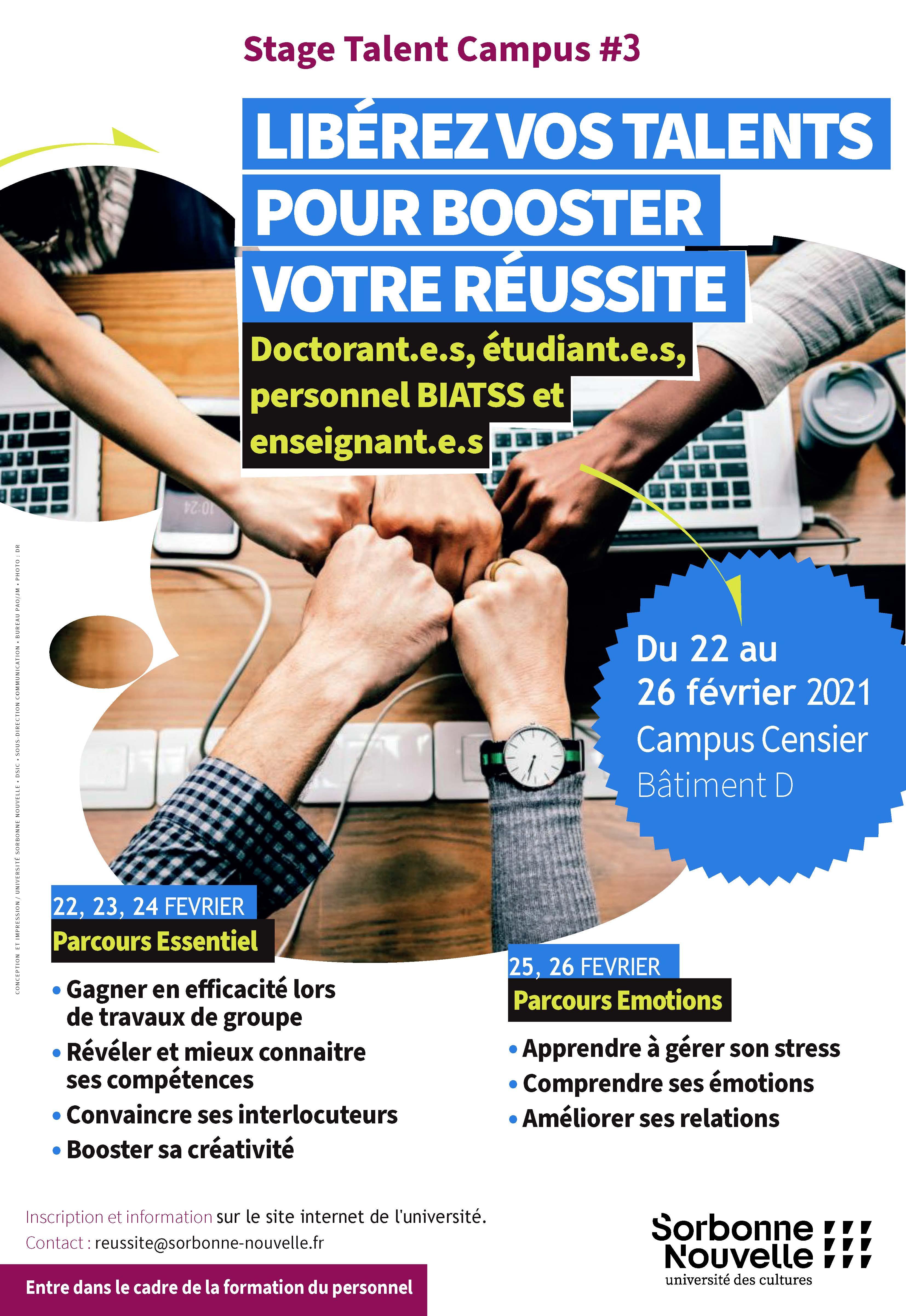 Affiche du service Réussite étudiante - Stage TalentcCampus numéro 3 pour février 2021