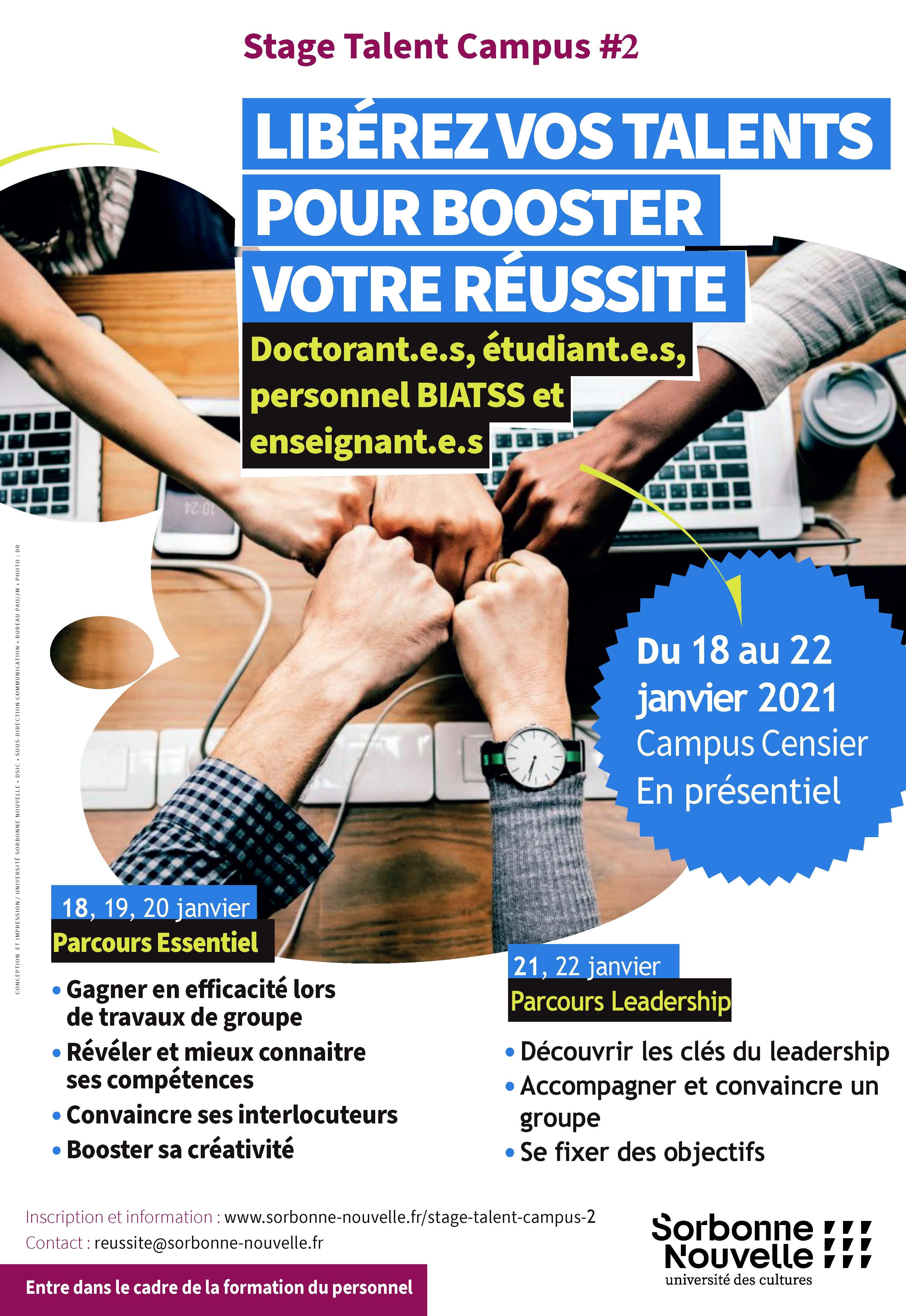 Stage Talent Campus du 18 au 22 janvier 2021