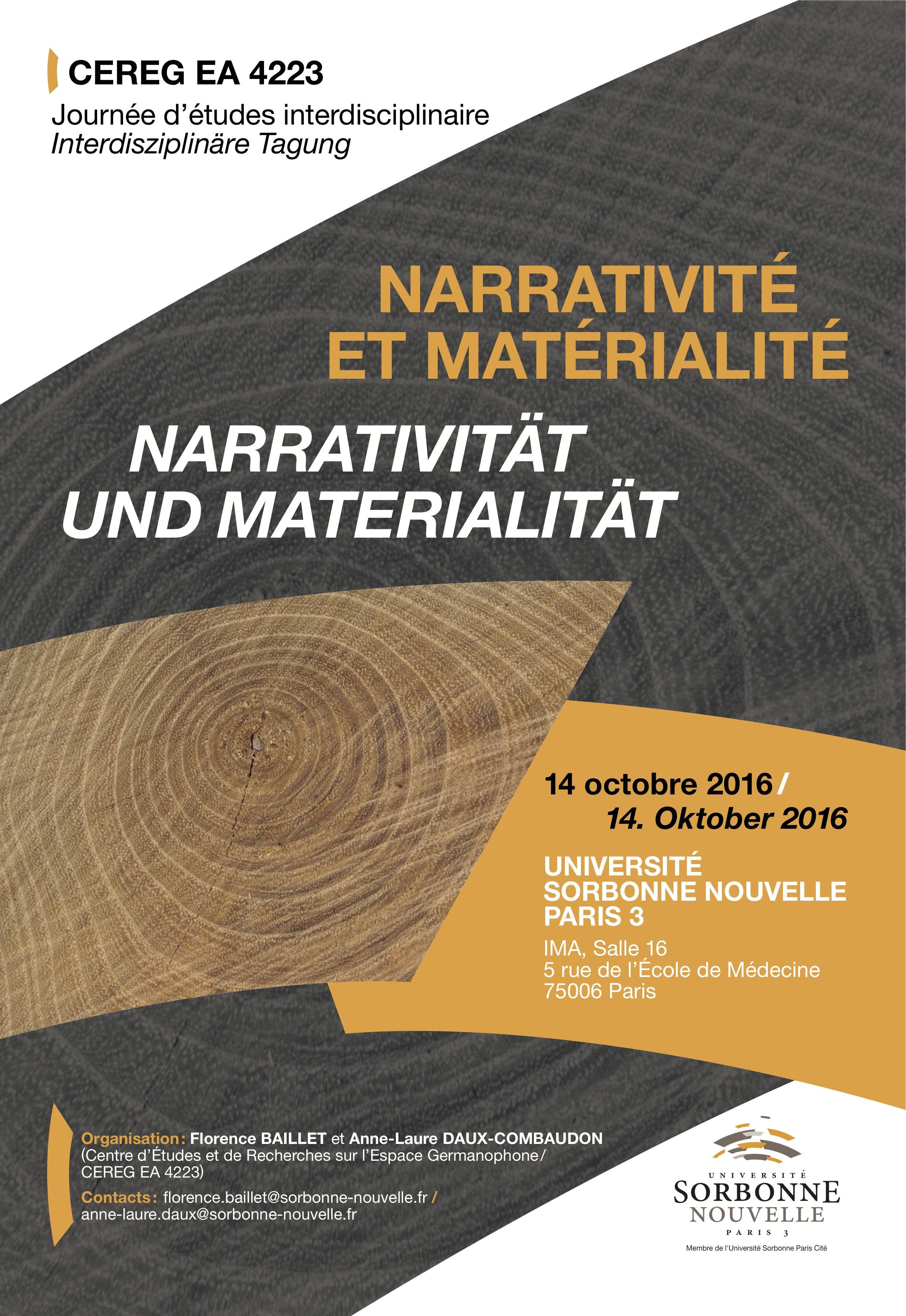 Affiche Narrativité et matérialité