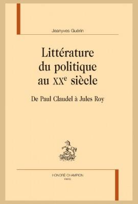 Couverture - LITTERATURE DU POLITIQUE AU XX E SIECLE.jpg