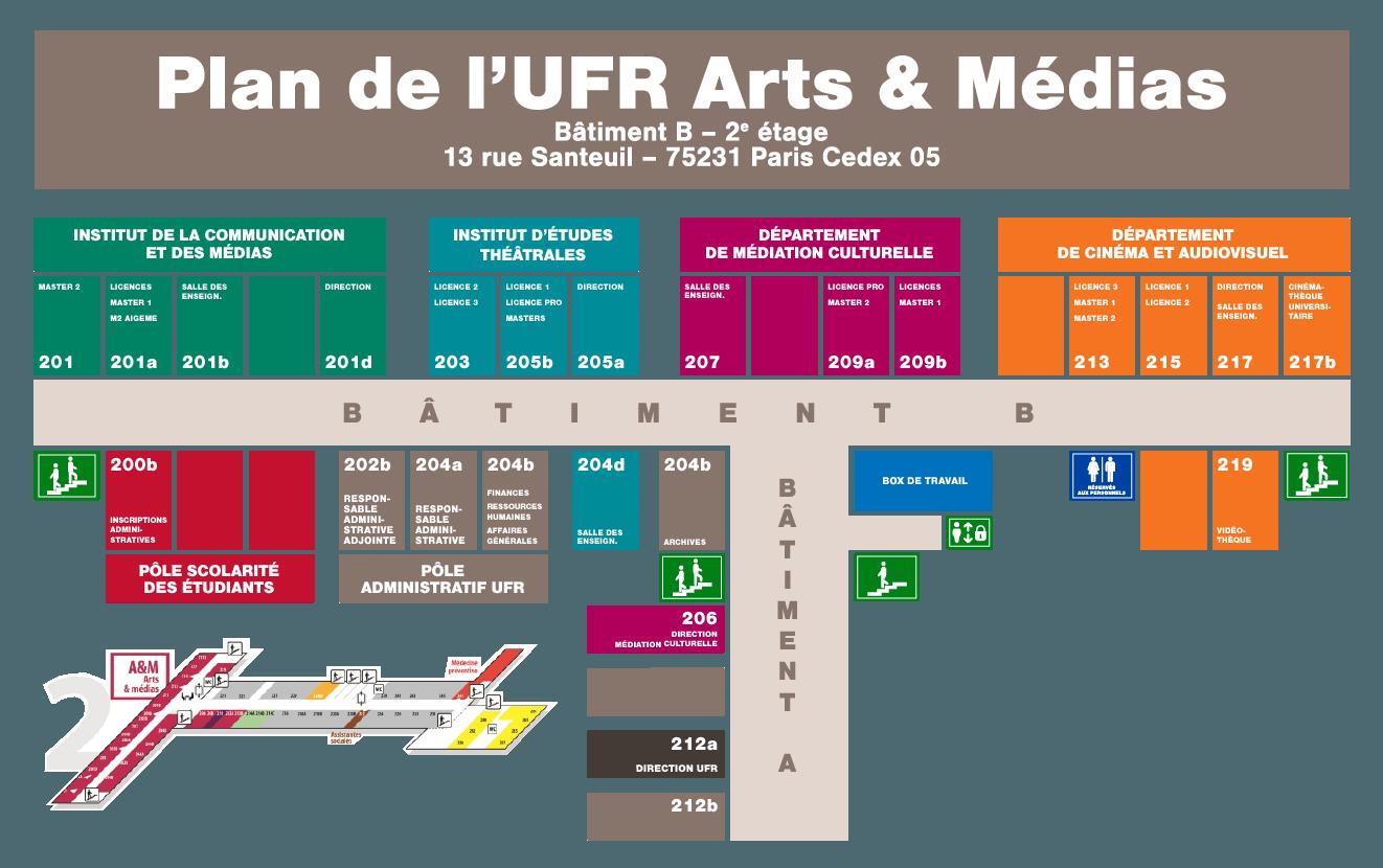 Plan de l'UFR Arts & médias (pdf)
